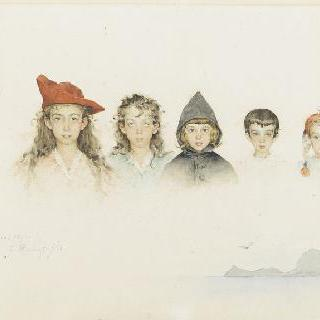 미술가의 다섯 아이들 상반신이 그려진 장식띠 형태의 초상