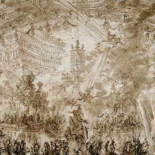 왕궁의 내부 : 한 인물에게 왕관을 씌어주는 날아다니는 두 페매