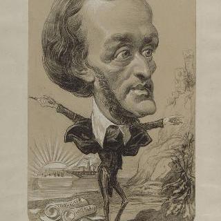 작은 몸에 거대한 머리의 바그너의 희화화된 초상