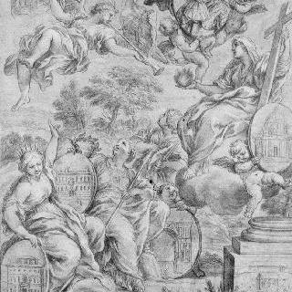 파르네즈의 라누치오 2세 초상이 있는 믿음, 평판, 두 가지 미덕