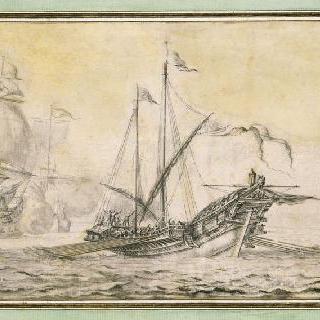 잔잔한 바다 위의 두 대의 선박과 갤리선의 전경