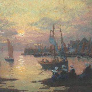 브르타뉴 항구의 일몰