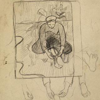 액자의 풍경 속 신발을 꿰고 앉아있는 브르타뉴여인 ; 발과 손의 반복