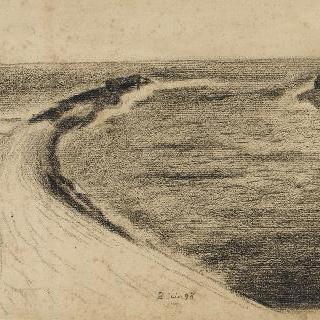 바다로 돌출해있는 둥근 둑