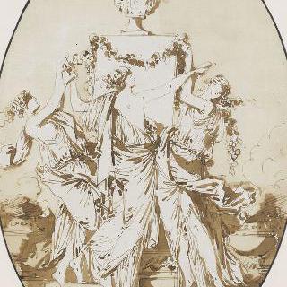 춤추는 고대풍의 주름진 천을 두른 세 젊은 여인들