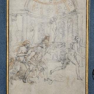 비너스의 정자 아래 비너스를 놀라게하는 아도니스 무리의 마르스