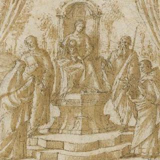 네 명의 성인이 둘러싸고 있는 왕좌의 성모와 아기 예수
