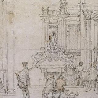 메디치 예배당의 미켈란젤로풍의 그림을 그리는 화가들