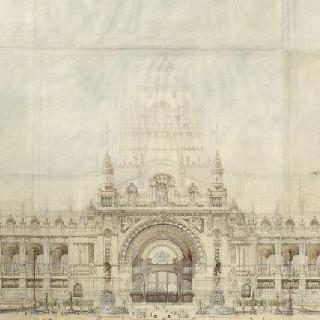 1900년 세계 박람회의 그랑 팔레 계획안 ; 중앙 정면, 입면도