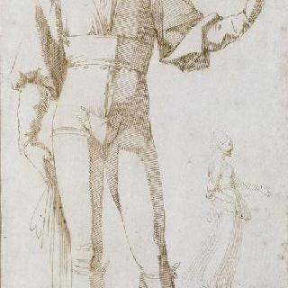 서 있는 청년 정면과 여인의 측면 실루엣