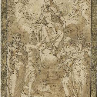 네 명의 성자들에게 나타난 아기 예수와 성모