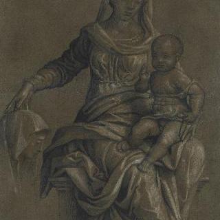 왕좌 위의 아기 예수를 안고 있는 성모와 성녀의 옆모습