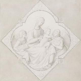두 천사에게 둘러싸인 아기 예수를 안고 있는 성모