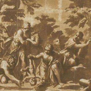 티탄니데스들에게 둘러싸여 아킬레스를 삼도천에 접어 넣는 테티스