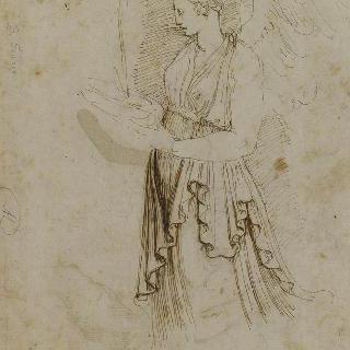 긴 휘장옷을 둘러 입고, 잔에 물을 붓고 있는 날개달린 여자