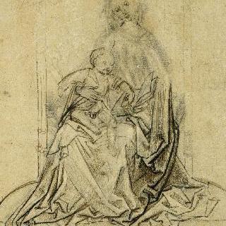 앉아있는 성모의 무릎 위의 아기 예수