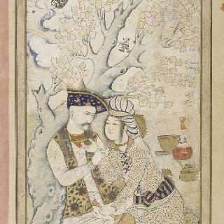 한 시녀를 안고 있는 샤 아바스 1세의 초상