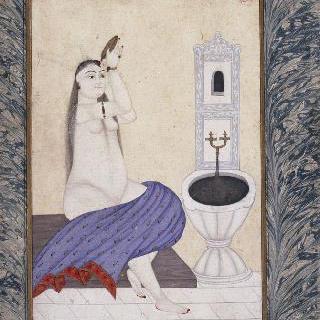 세밀화 : 목욕탕 화장실의 여인