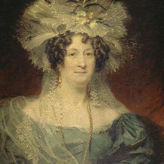 화려한 머리장식과 목이 많이 파인 블라우스를 입은 여인의 초상