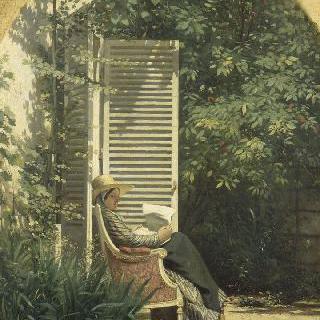 페르시아인들 뒤쪽에서 책 읽는 앉아 있는 여인