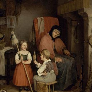 노파, 어린 소녀와 소년이 있는 실내 장면