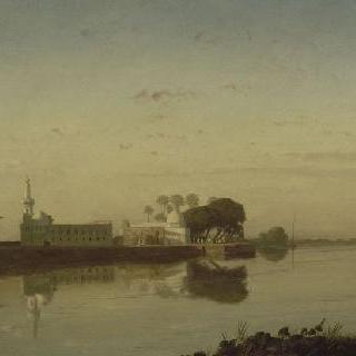 바스 이집트의 나일 강의 전경