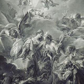 충성의 신으로부터 위로받는 프랑스 (단색화)