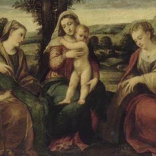 성녀 카트리나, 성녀 아그네스 와 작은 성 요한 사이의 성모와 아기 예수