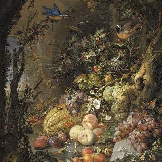 폐허가 된 풍경 속 꽃, 과일, 새들과 곤충들