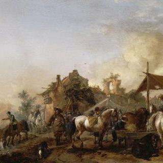 말들에게 물을 먹이고 있는 군대의 휴식