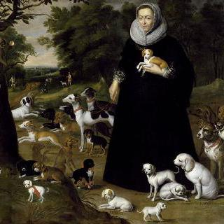 개를 안고 있는 여인