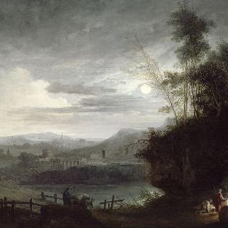 청명한 달빛 아래 불가에서 몸을 녹이는 사람들이 있는 풍경