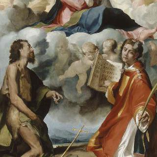 성 요한과 성 스페파노와 함께 있는 후광에 싸인 성모와 아기 예수