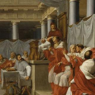 성 브루노의 삶 : 샤르트르회 수도원 건립을 인가하는 교황 빅토르 3세