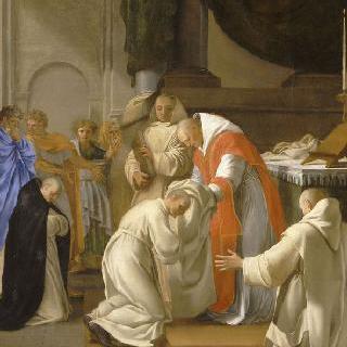 성 브루노의 삶 : 여러 사람들에게 의복을 나누어주는 성 브루노