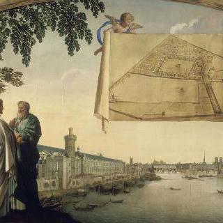 두 천사가 받치고 있는 파리의 샤르트르회의 성당의 지도