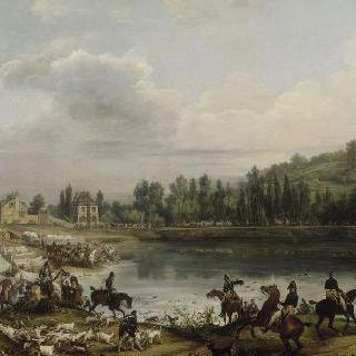 1818년 뫼돈 숲에서 생 위베르를 위한 사슴 사냥