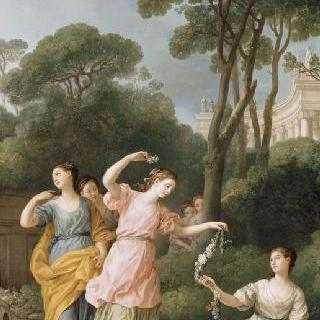 잠든 에로스를 꽃으로 장식하는 그리스 소년들