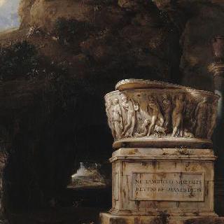 고대의 석관이 있는 동굴 풍경 (1717년)