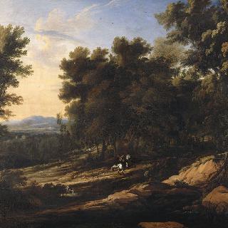 매사냥꾼과 숲 속 빈터의 풍경