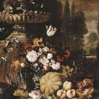 토끼, 원숭이, 꽃, 과일과 샘
