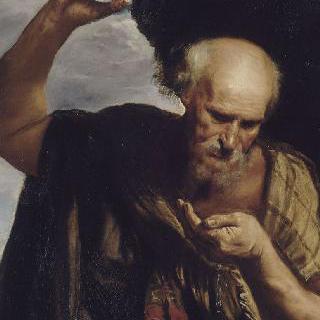 손으로 마시면서 자신의 사발을 던지는 디오게네스