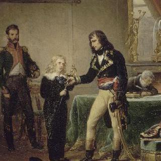 아버지의 검을 아들 외젠 드 보하르네에게 건네주는 보나파르트 장군