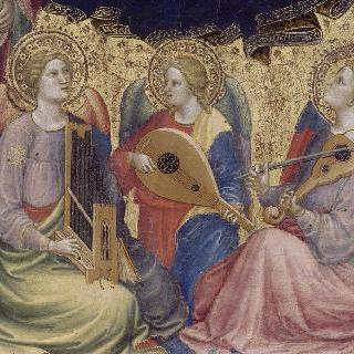 네 명의 성인과 세 명의 음악 천사와 함께 있는 성모와 아기 예수
