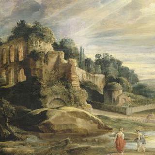 로마 팔라틴 산의 폐허가 있는 풍경
