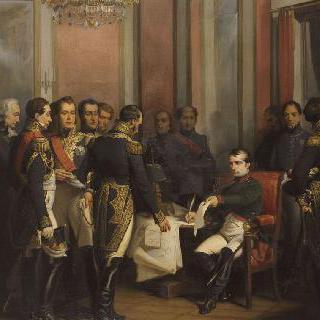 1814년 4월 4일 퐁텐블로 성에서 왕위 양위에 서명하는 나폴레옹 1세