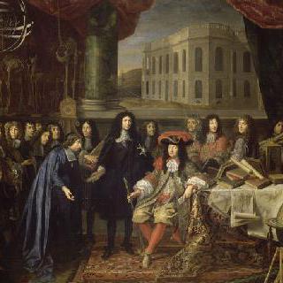 1667년 창립된 과학 왕실 아카데미의 회원을 루이 14세에게 소개하는 콜베르