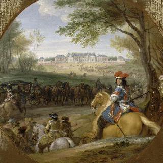 1669년 베르사유 옛 성이 보이는 곳에서 근위대을 앞세우고 도착하는 루이 14세