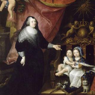 루이 14세,필립 드 프랑스와 프랑수아즈 드 수브레, 랑삭 후작 부인 (1643년경)