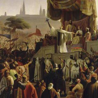 루이 7세 왕과 알리에노르 왕비가 참석한 제 2차 십자군에게 복음을 전하는 성 베르나르